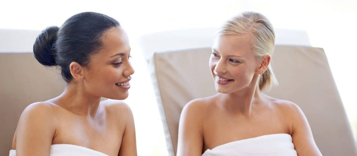 two women talking at medical spa